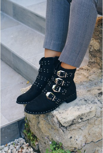 Bottines clou texture daim